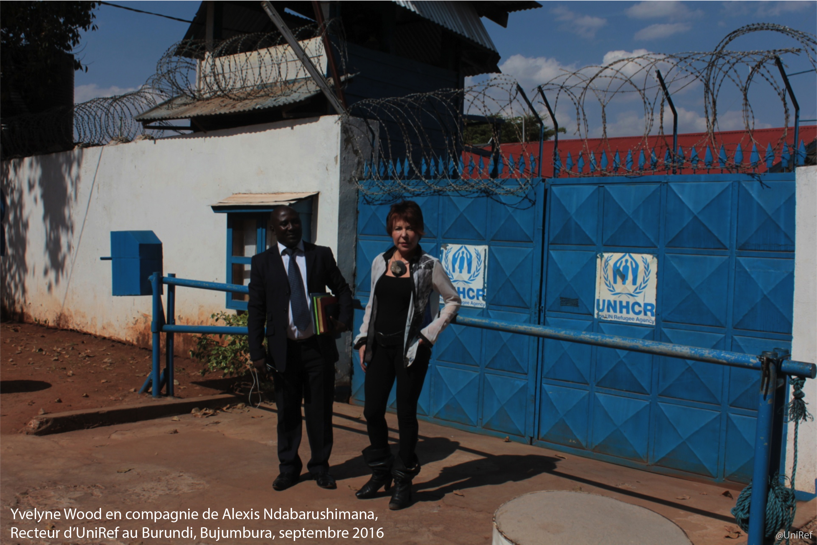 Yvelyne Wood en compagnie de Alexis Ndabarushimana, Recteur d'Uniref au Burundi, Bujumbura, septembre 2016